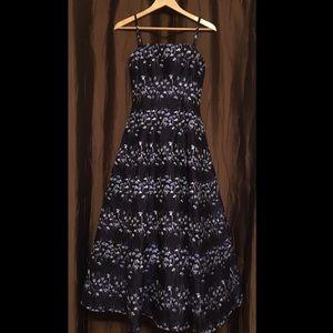 Vera Wang Jacquard Floral Blue Ball Gown